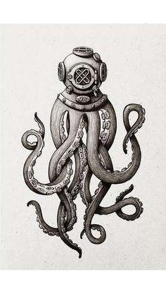 Octopus Diver Art Print
