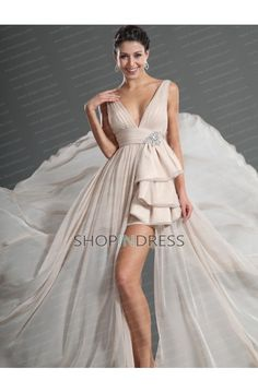 A-line V-neck Hi-Lo Chiffon Champagne Evening Dress with Appliques