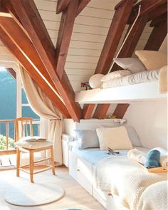 bunk beds in the attic, and exposed beams - love