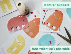 free printable download - paper monster finger puppets valentine's cards for kids from
