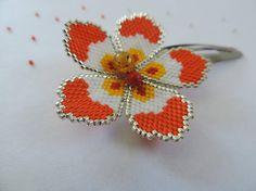 Barrette fleur // Tissage de perles fait main // Orange