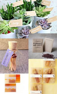 Get creative and give out succulents, some more seeds to plant, matchsticks, handmade soaps, and bottles of homemade honey.