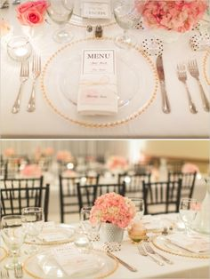 gold and pink wedding ideas. love the milk glass flower arrangements plus the gold and pink.