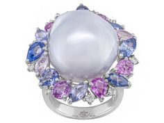 16x17mm White Cultured South Sea Pearl, 6.39ctw Sapphire, & 0.22ctw Diamond 18k White Gold Ring