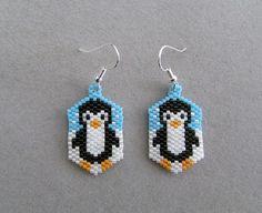 Snowy Day Beaded Penguin Earrings by DsBeadedCrochetedEtc on Etsy