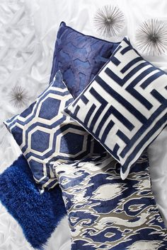 Sleek sapphire pillows.