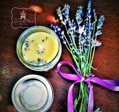 Lavender Beeswax Candles. 4 oz Organic in a Mason jelly jar.