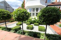 See this example of a recent garden design in Barnes, West London, from Harrington Porter, garden designers and landscapes in Narrow Garden, Back Garden Design, West London, Back Gardens, Sidewalk, Garden Ideas, Mansions, Landscape, House Styles
