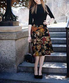 #styleinspiration for #academics | simple black top & florals #womenswear #womensfashion #instadaily #instastyle #stylishacademic