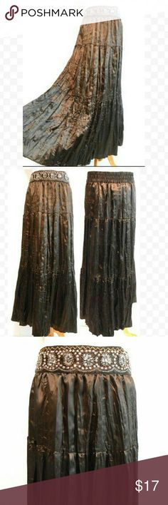 """Tiered Festival Maxi Skirt with Bling Waist 32-38"""" elastic waistband  Hip up to 46"""" Length 37"""" Beautiful, lightweight satin crinkle fabric.  Chocolate brown. Front of waistband has stitched on sequins, beads & embroidery.  Ankle length. Unlined. Hand wash. Very good condition. No flaws. Ambiance Apparel Skirts Maxi"""