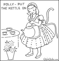 Nursery Rhyme Embroidery | Polly Put Kettle On | Q is for Quilter