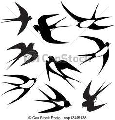 Wektor - Ptak, jaskółka, komplet, Wektor, Illustrati - zbiory ilustracji, ilustracje royalty free, zbiory ikon klipart, zbiór ikon klipart, logo, sztuka, obrazy EPS, obrazki, grafika, grafik, rysunki, rysunek, obrazy wektorowe, projekt graficzny, EPS wektor graficzny