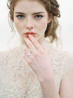 This stunning image by Oregon base photographer Carlos Hernandez says it all with the bold lips against pale skin! Day Makeup Looks, Bridal Makeup Looks, Bridal Hair And Makeup, Hair Makeup, Romantic Bridal Hair, Bridal Beauty, Wedding Beauty, Make Up Braut, Vancouver Wedding Photographer