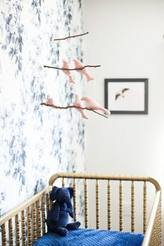 Sneak A Peek // Kate's Vintage Nursery, Floral Wallpaper, and DIY Gold Crib and Mobile