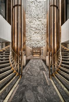 hotel reception 2019 CODAawards Highlight the Best Site-Specific Artwork Lobby Interior, Home Interior Design, Interior Architecture, Interior And Exterior, Contemporary Interior Design, Modern Interior, Hotel Lobby Design, Grand Staircase, Staircase Design