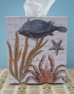 Tissue box cover beach theme paper crafting hybrid pinterest box covers tissue box - Beach themed tissue box cover ...