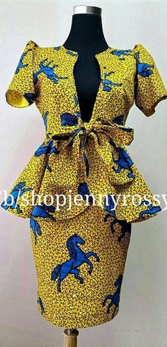 African print Skirt and Top Ankara pencil skirt and peplum jacket top. Ankara | Dutch wax | Kente | Kitenge | Dashiki | African print bomber jacket | African fashion | Ankara bomber jacket | African prints | Nigerian style | Ghanaian fashion | Senegal fashion | Kenya fashion | Nigerian fashion | Ankara crop top (affiliate)