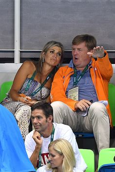 Queen Maxima of the Netherlands and king WillemAlexander of the Netherlands attend the Men's 4 x 100m Medley Relay Final on Day 8 of the Rio 2016...