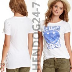 LUCKY BRAND DISTRESS DON'T WORRY BE LUCKY WOMEN'S SCOOP NECK S/SLV TEE SZ S-XL #LuckyBrand #GraphicTee