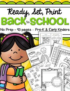 Back to school printables no prep - just print and that's it! Hands-on printable activities for preschool, pre-K and early Kindergarten children. This is a BIG pack! For pre- and early readers.  All in b/w, 93 pages.