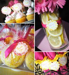 centerpiece idea- pink gerber daisies w/ lemons inside clear vase