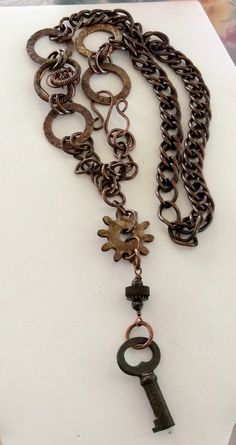 Steampunk Industrial Necklace Diesel Punk necklace rusty old gears key wire coils copper brass chain industrial necklace one of a kind by ChristineHillDesigns on Etsy https://www.etsy.com/listing/235704453/steampunk-industrial-necklace-diesel