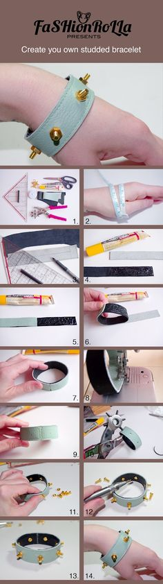 DIY Studded Bracelet Tutorial. Love the unexpected leather color.