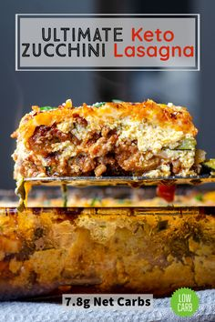 The best keto lasagna recipe! Oven roasted parmesean crusted zucchini noodles, a rich hearty meat sauce with ground beef and Italian sausage, and a creamy ricotta cheese filling. With only 7.8g of net carbs per serving this recipe is perfect for keto friendly dinners and low carb meal prep! Zuchinni Lasagna, Lasagna With Ricotta, Lasagna With Zucchini Noodles, Zucchini Lasagna Recipes, Sausage Lasagna, Meat Lasagna, Roasted Zucchini Noodles, Roast Zucchini, Low Carb Meats