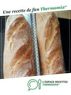 Pain comme à la boulangerie par didouned. Une recette de fan à retrouver dans la catégorie Pains & Viennoiseries sur www.espace-recettes.fr, de Thermomix<sup>®</sup>. Pain Thermomix, Thermomix Bread, Thermomix Desserts, Homemade French Bread, Cooking Bread, Bread Cake, Ciabatta, Biscotti, Bread Recipes