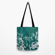 """Emerald #Totebag by ARTbyJWP from #Society6 #bag #handbag #fabricbag #waves #ocean #artprints #buyart #artbyjwp --- Our quality crafted Tote Bags are hand sewn in America using durable, yet lightweight, poly poplin fabric. All seams and stress points are double stitched for durability. Available in 13"""" x 13"""", 16"""" x 16"""" and 18"""" x 18"""" variations, the tote bags are washable, feature original artwork on both sides and a sturdy 1"""" wide cotton webbing strap for comfortably carrying over your…"""