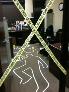 """Crime scene in adjacent office. This is the vacant office of two co-workers that payed the role of victims of my office mate. See their pics up in my office """"kill room."""""""