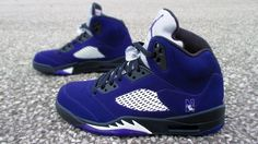 Nike Air Jordan 5's Custom Black and Purple (Grapes) Northwestern University Customs