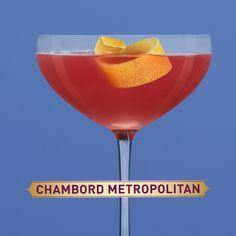 To make a Chambord Metropolitan, shake and strain Chambord, grapefruit vodka, lemon and pomegranate juice into a martini glass. Garnish with a lemon twist.