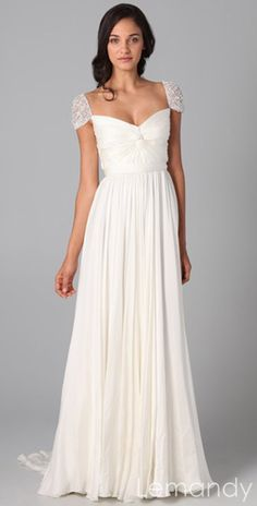 ivory silk chiffon cap sleeves column wedding dress with sweep train. $238.00, via Etsy.