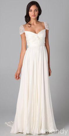 ivory silk chiffon cap sleeves column wedding dress with sweep train. $238.00, via Etsy.