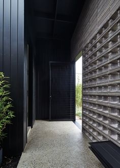 Not so much the concrete blocks, but the vertical cladding and polished concrete--- this could run into timber floors. Architecture Details, Interior Architecture, Interior Work, Facade Design, House Design, Clare Cousins, Black Building, Entry Hallway, Concrete Blocks