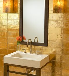 Davlin gold leaf tiles from Ann Sacks Tile & Stone :  home gold tiles interiors