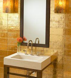 Davlin gold leaf tiles from Ann Sacks Tile & Stone :  home gold tiles interiors