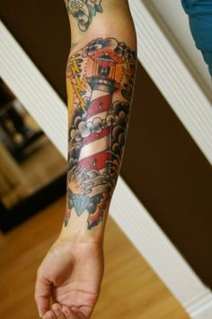 Submitted by Ryan Cullen (bludshaker@msn.com): Lighthouse by Ryan Cullen @ Classic Tattoos