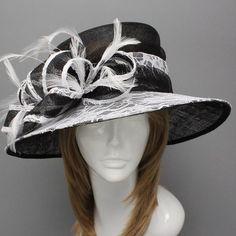 Church Kentucky Derby Hat Black White Feather Sinamay Widebrim Wedding Teaparty