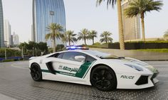 World's Most Exotic Police Cars:  Lamborghini Aventador | Dubai, United Arab Emirates; Italy; U.K.  Lamborghini could be considered the worldwide leader in crime-fighting supercars, since many police departments opting for something exotic go with a supercar from this famed Italian automaker with the fighting-bull emblem. A green-and-white Aventador LP700-4 from the Dubai police stable is the latest Lambo to go on patrol.