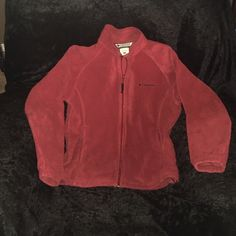 Ladies Fleece Columbia jacket Gently used condition. Size small. Maroon color. No holds. No trades. Columbia Jackets & Coats
