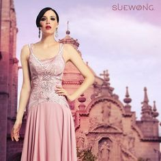 Sue Wong double spaghetti strap cocktail dress with embroidered bodice and waterfall skirt... #teamsuewong #fashion #inspiration #couture #hautecouture #highfashion #glamorous #suewong #colorful