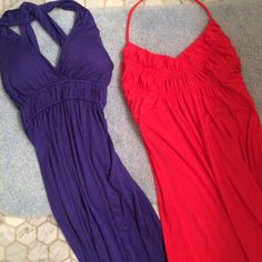Set of 2 maxi dresses Super comfortable maxi dresses.  Purple is 95% rayon and 5% spandex, coral red is 96% polyester and 5% spandex. Forever 21 Dresses