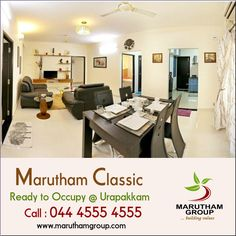 Looking for a home that makes you feel like being on a vacation everyday?   Well, the projects of Marutham Group can be the right choice since the builder designs all their projects in a luxurious manner with world class amenities.