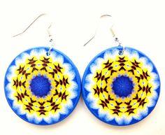Pansy earrings, floral mandala, earrings big by JewelryByJolanta, $18.00