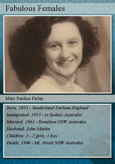 Martinews - 52 Ancestors in 52 weeks: #FearlessFemales - Day 29 - create a trading card for a female ancestor #genealogy