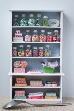 Miniature Candy Shop Shelf - Lollipops, Chocolate & More