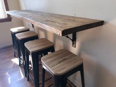 hanging dining table, buffet, breakfast nook with industrial metal turnbuckle brackets - Kitchen dining wall mounted bar/Handmade industrial metal brackets -Wall hanging dining table, b. Bar Furniture, Kitchen Furniture, Kitchen Dining, Kitchen Bar Counter, Furniture Stores, Furniture Outlet, Luxury Furniture, Cheap Furniture, Dining Rooms