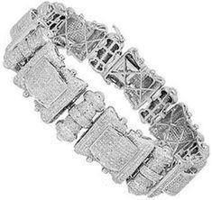 10K White Gold Mens Diamond Bracelet 12.00-Ctw